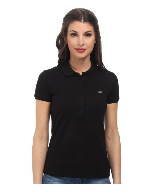 Lacoste | Black Short Sleeve Slim Fit Stretch Pique Polo Shirt | Lyst