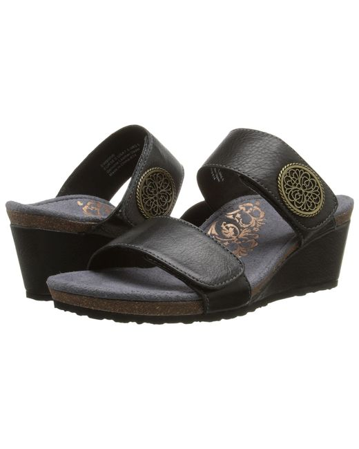 Aetrex | Black Marilyn Wedge Sandal | Lyst