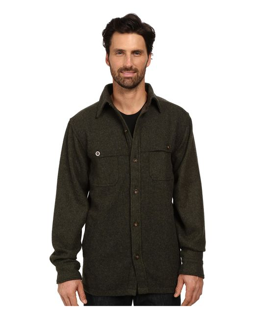 Woolrich | Green Wool Stag Shirt Jacket for Men | Lyst
