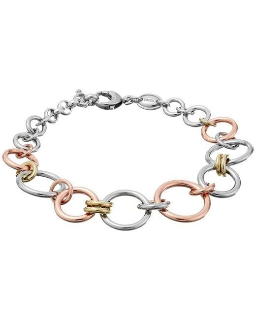 Fossil   Pink Tri-tone Circle Bracelet   Lyst