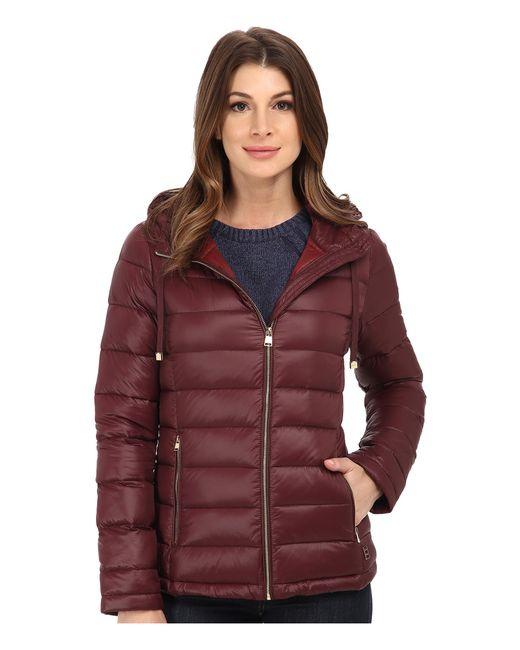 Calvin Klein | Red Short Packable Down Coat W/ Horizontal Quilt Pattern | Lyst