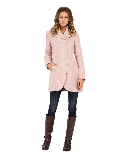 Jessica Simpson | Pink Asymmetrical Braided Wool Coat With Shawl Collar | Lyst