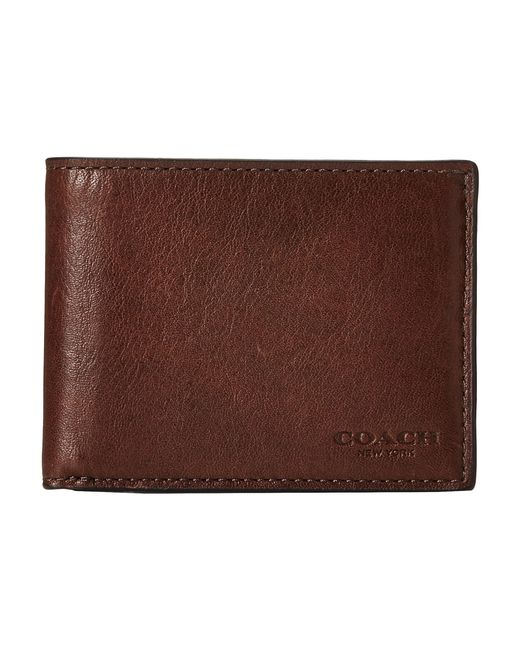 COACH | Brown Sport Calf Slim Billfold Id Wallet for Men | Lyst