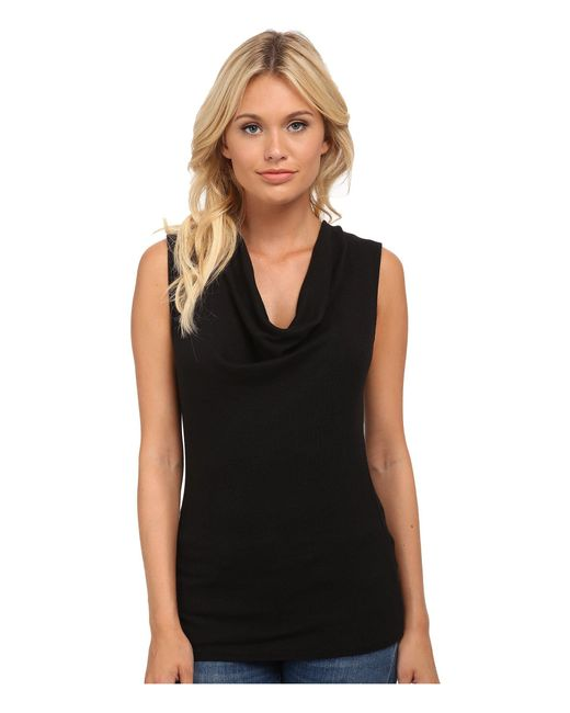 Michael Stars | Black Shine Sleeveless Drape Neck | Lyst