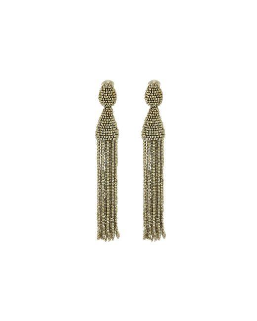 Oscar de la Renta | Blue Classic Long Tassel C Earrings | Lyst