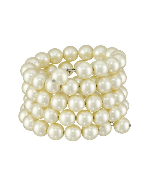 Kenneth Jay Lane | White 4 Row Cultura Pearl 10mm Coil Bracelet | Lyst