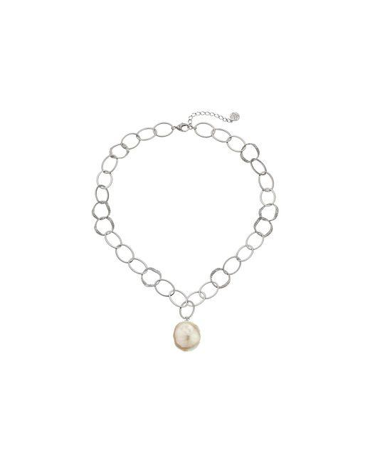 Majorica | Metallic Baroque Pearl Hammered Pendant Necklace | Lyst