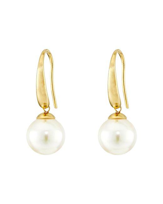 Majorica | Metallic French Wire Round Pearl Drop Earrings | Lyst