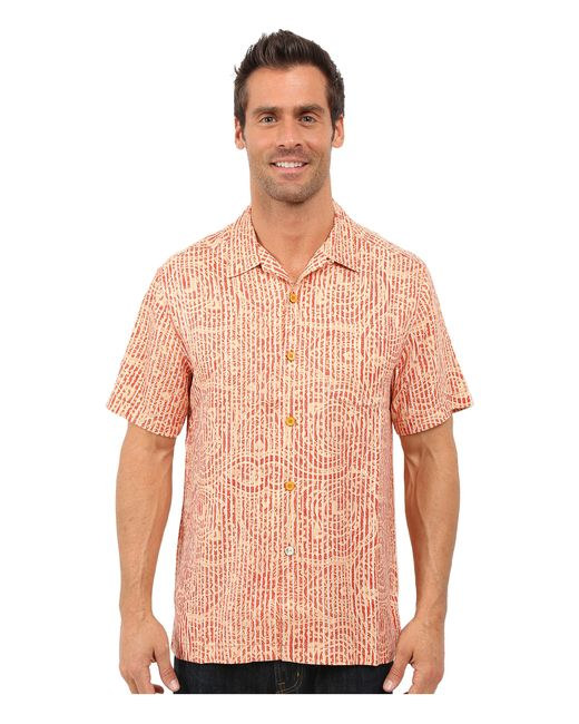 Tommy bahama paloma paisley camp shirt in red for men lyst for Tommy bahama florida shirt