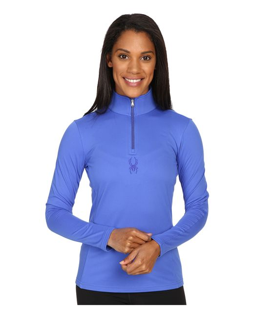 Spyder | Blue Shimmer Bug Velour Fleece T-neck Top | Lyst