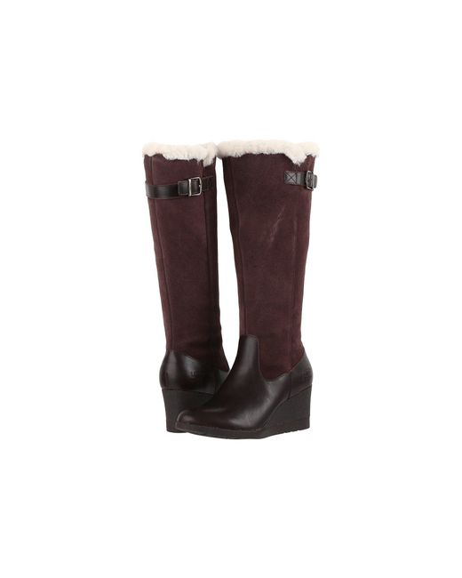 Ugg | Brown Mischa Leather Wedge Boots | Lyst