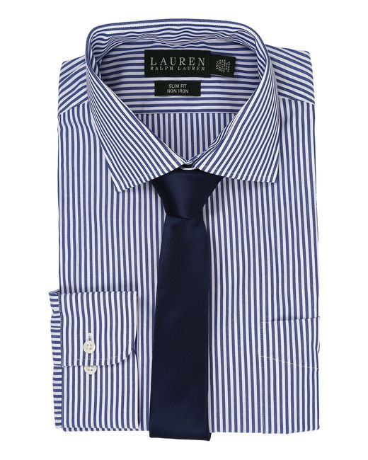 Lauren by Ralph Lauren | Blue Bengal Stripe Spread Collar Slim Button Down Shirt for Men | Lyst