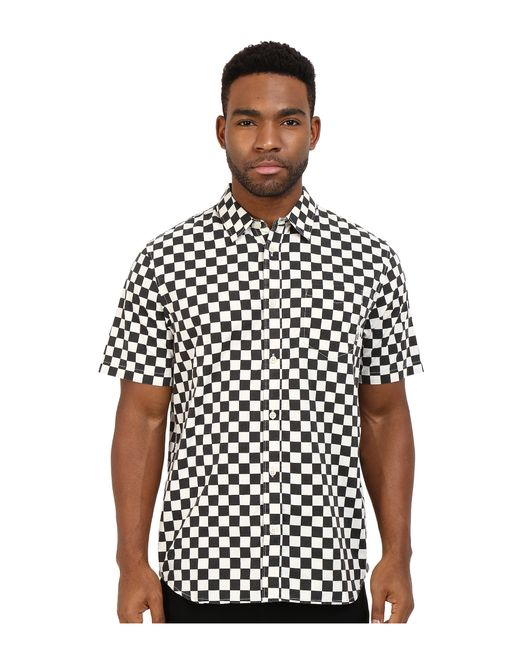 Vans checkerboard print short sleeve button down shirt in for White short sleeve button down shirts for men