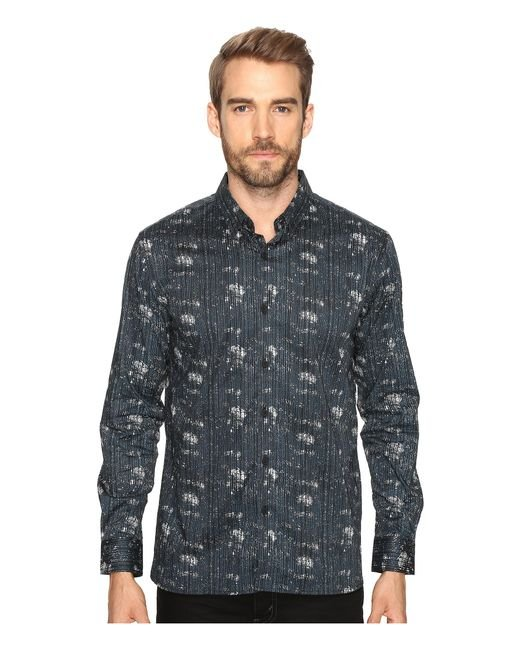 7 Diamonds | Blue Etched Out Long Sleeve Shirt for Men | Lyst