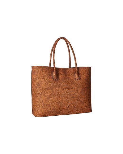 Sole Society Brown Hawna Tote Metallic Linen Handbags Lyst