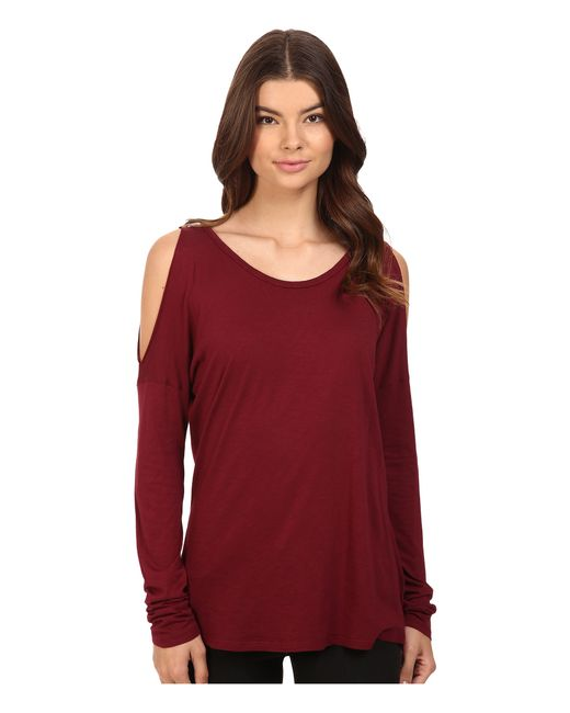 Michael Stars | Red Luxe Slub Long Sleeve Cold Shoulder Tee | Lyst