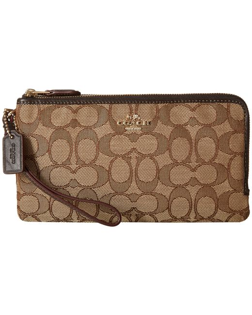 COACH | Brown Signature Double Zip Wallet | Lyst