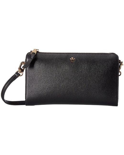 Tory Burch - Robinson Pebbled Wallet Crossbody (black) Wallet Handbags - Lyst