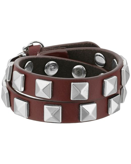 Rebecca Minkoff | Multicolor Double Row Leather Bracelet With Pyramid Studs | Lyst