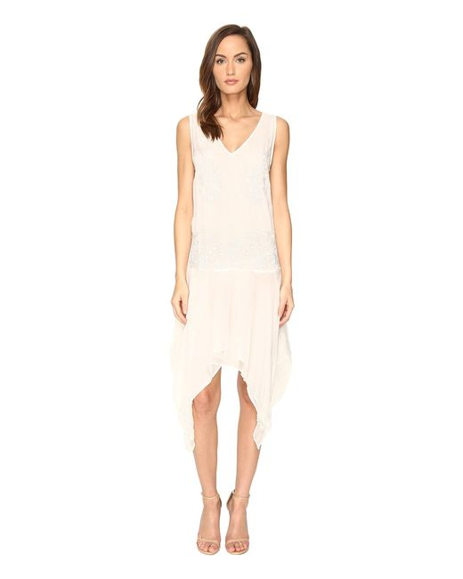 Just Cavalli | White Sleeveless V-neck Embroidered Handkerchief Hem Dress | Lyst