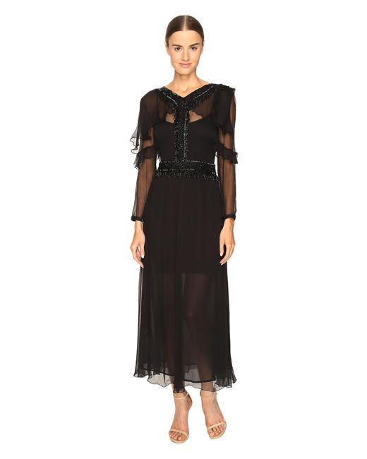Just Cavalli | Black 3/4 Sleeve Sheer Embellished Gown | Lyst