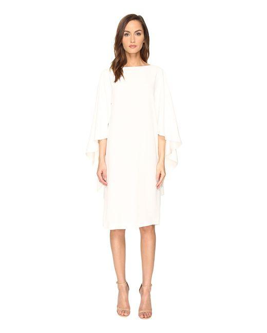 Alberta Ferretti | White Boat Neck Cape Dress | Lyst