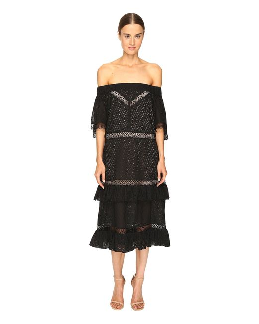 Prabal Gurung | Black Off Shoulder Tiered Ruffle Dress | Lyst
