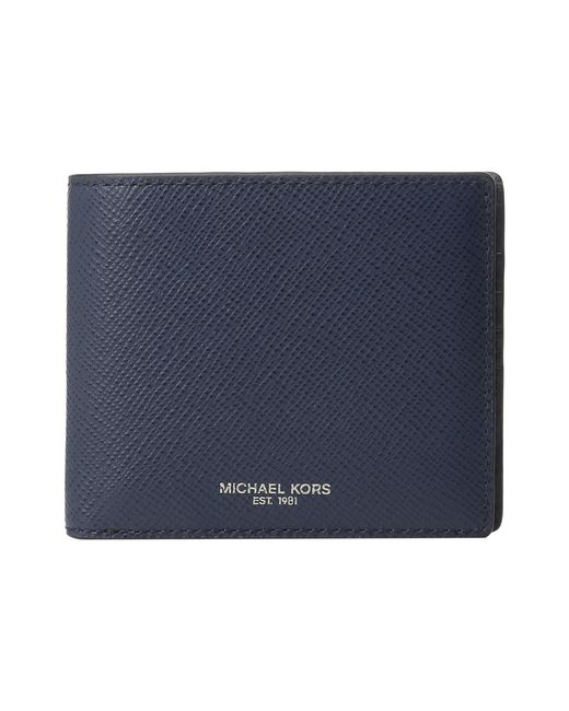 Michael Kors | Blue Harrison Crossgrain Coin Pocket Wallet for Men | Lyst