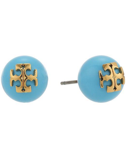 Tory Burch | Blue Crystal Pearl Stud Earrings | Lyst