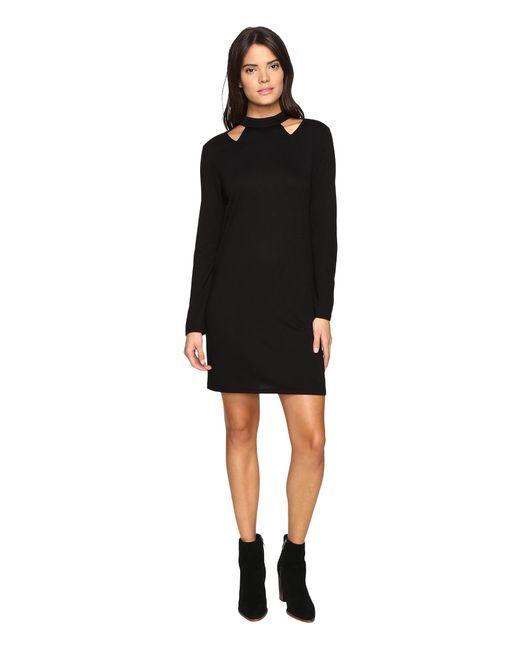 Lanston | Black Cut Out Turtleneck Mini Dress | Lyst