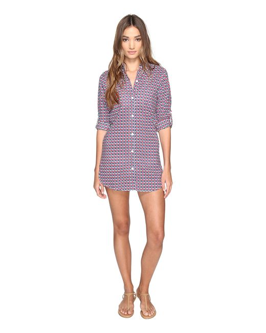 Tommy Bahama | Purple Geo Boyfriend Shirt Cover-up | Lyst