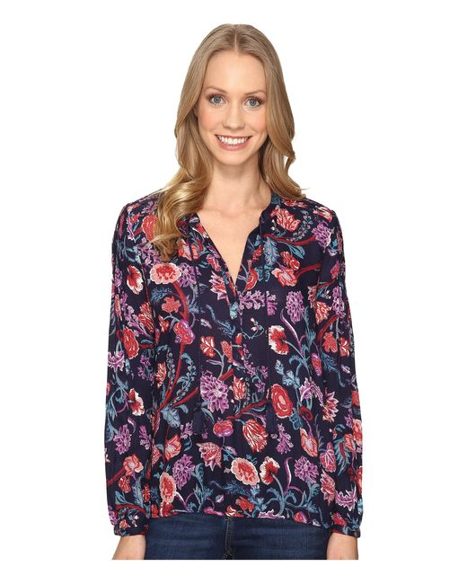 Lucky Brand | Blue Tassle Floral Blouse | Lyst