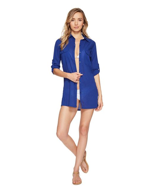 Lauren by Ralph Lauren | Blue Crushed Camp Shirt Cover-up | Lyst