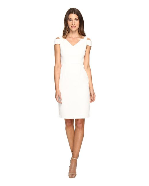 Adrianna Papell | White Cold Shoulder Fitted Sheath | Lyst