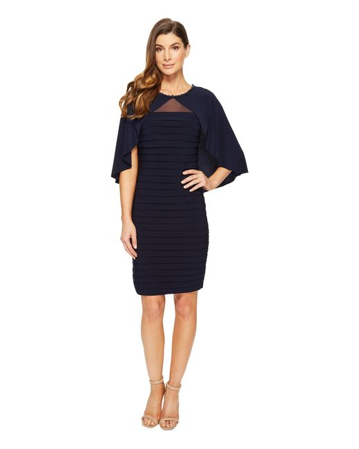 Adrianna Papell | Blue Matte Jersey Banded Cape Dress | Lyst