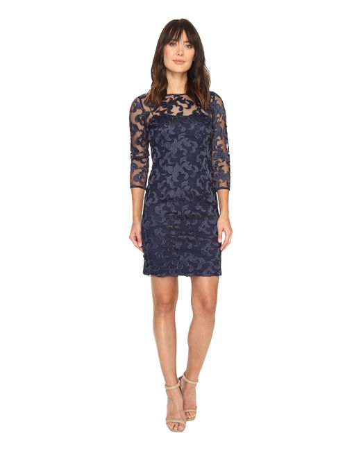 Aidan Mattox | Blue Long Sleeve Embroidered Mesh Cocktail Dress With Boat Neck | Lyst