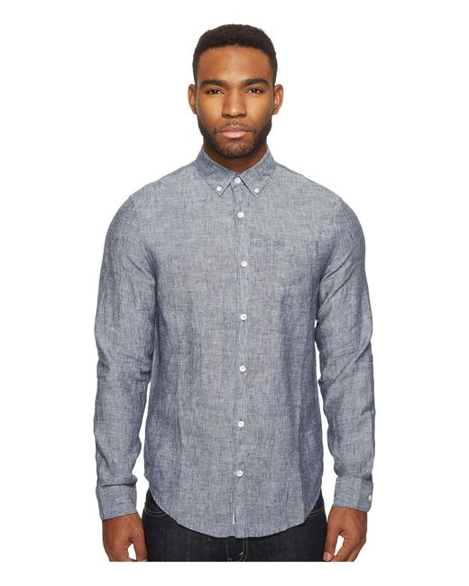 Original Penguin | Blue Long Sleeve Nep Linen Non-solid Solid Woven Shirt for Men | Lyst