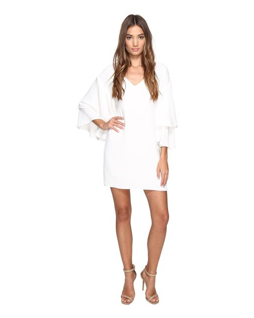 Laundry by Shelli Segal | White Drop Shoulder Ruffle Bell Sleeve Dress | Lyst