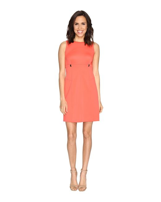 Ivanka Trump | Pink Solid Scuba Fit And Flare Dress With Hardware Grommets | Lyst