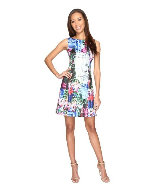 Adrianna Papell | Blue Printed Geo Corsage Seamed A-line Dress | Lyst