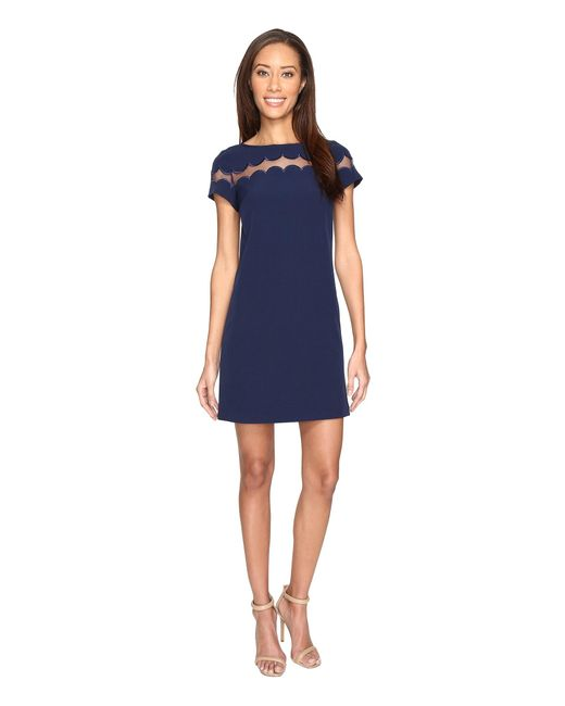 Adrianna Papell | Blue Short Crepe Scalloped Color Blocked Shift Dress | Lyst
