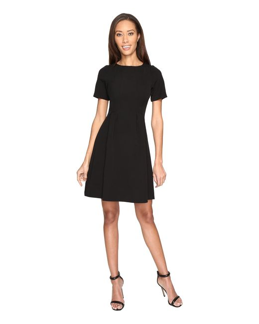 Adrianna Papell   Black Stretch Crepe Swing Dress With Release Pleats   Lyst