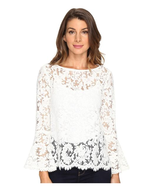 Karen Kane   White Lace Bell Sleeve Top   Lyst