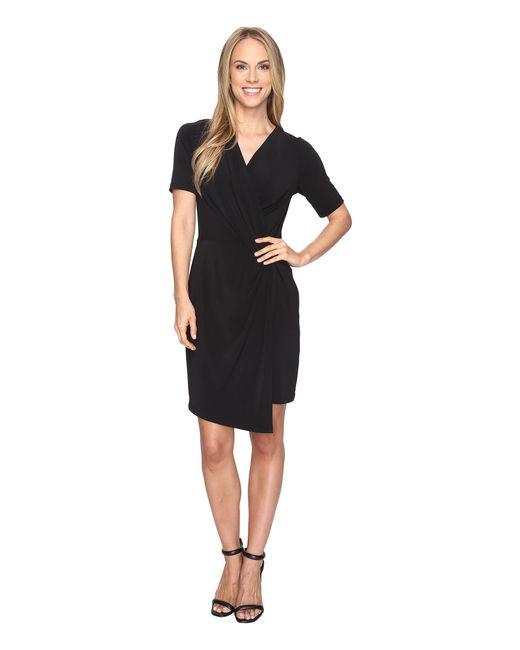 Karen Kane   Black Crossover Drape Dress   Lyst