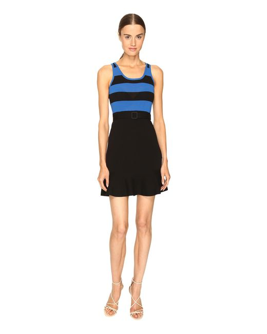 Boutique Moschino | Black Striped Top Belted Dress | Lyst