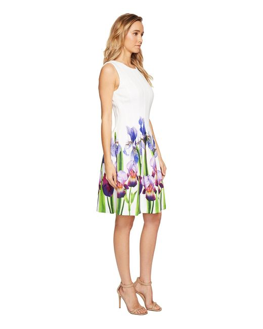 Calvin Klein Fit Amp Flare Dress With Floral Border Print