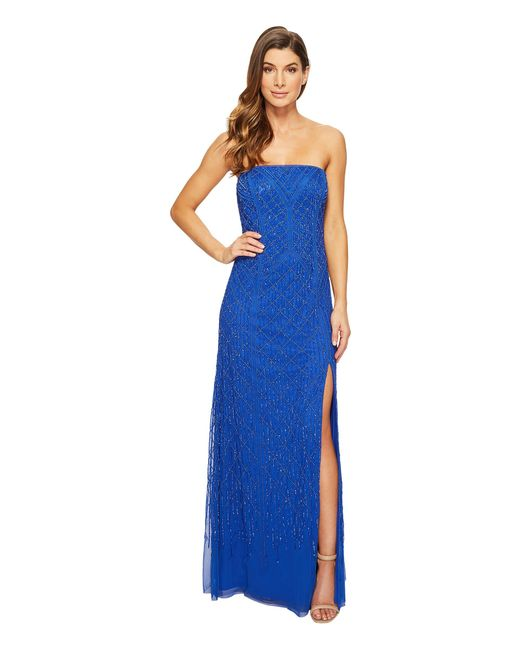 Adrianna Papell | Blue Strapless Beaded Gown With Modified Mermaid Skirt And High Slit | Lyst