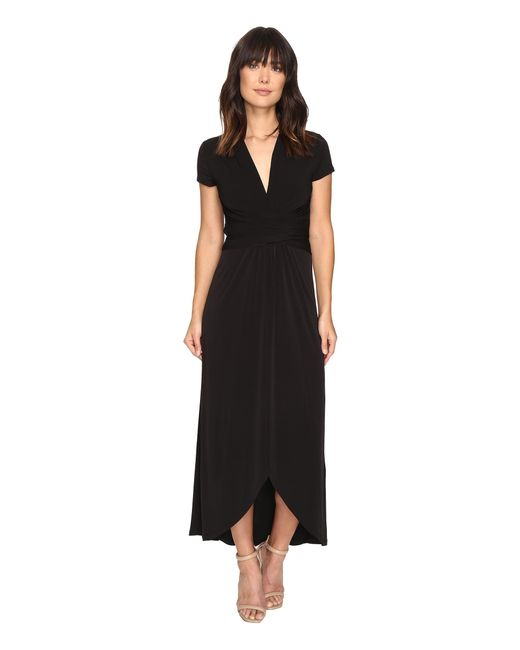 Michael Michael Kors Short Sleeve Maxi Wrap Dress In Black
