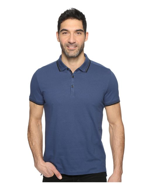 Kenneth Cole | Blue Polo With Tipping for Men | Lyst