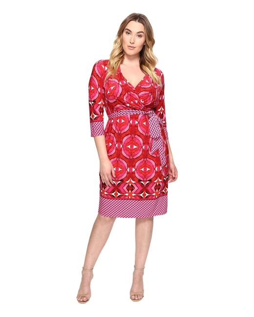 Adrianna Papell | Red Plus Size 3/4 Sleeve V-neck Wrap Dress | Lyst